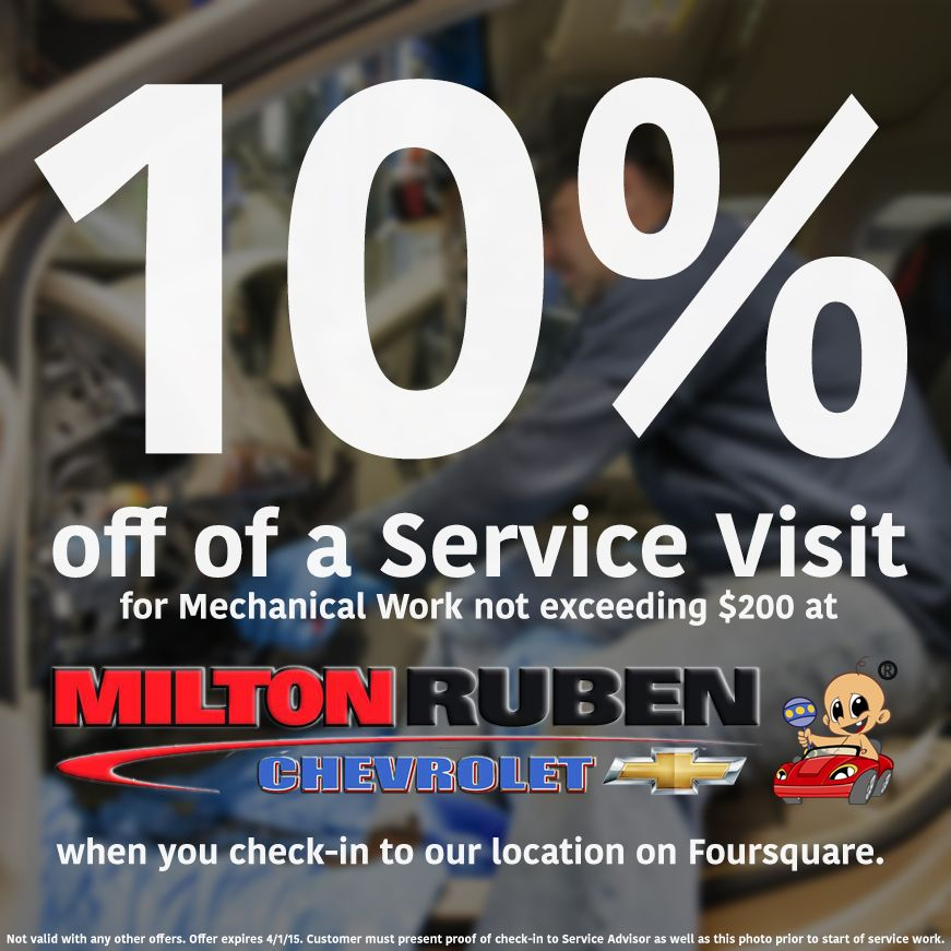 Check In To Milton Ruben Chevrolet On Foursquare And Get 10% Off Of Your  Service Visit! Augusta, GA. Schedule Your Appointment Now: Bit.ly/1LiSuFi