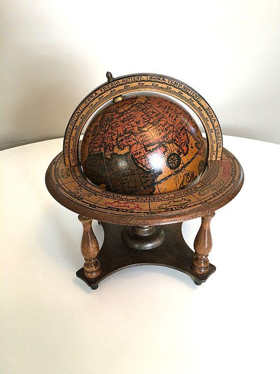 Vintage Italian Old World Wood Globe, Astrological Zodiac Musical Globe, Antique  Desk Accessory, Mid Century Wood Globe - NOW SOLD! Musical Vintage Italian Old World Wood Globe Vintage