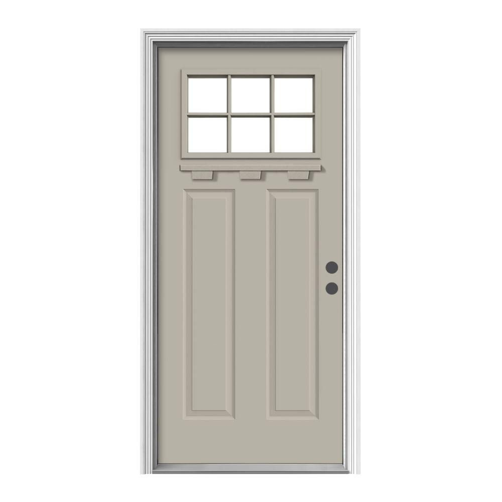 Delicieux Craftsman 6 Lite Painted Premium Steel Prehung Front Door With Brickmould  And Dentil Shelf, Desert Sand