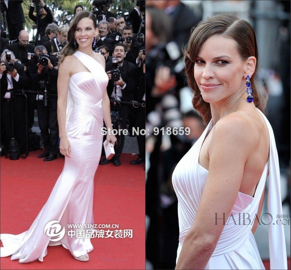 One shoulder mermaid white long red carpet dress custom made