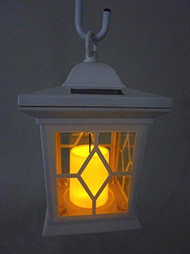 LED Solar-Laterne Romantica weiß mit Kerzen-Flackerlicht