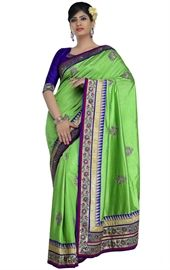 Picture of Tranquil Lime Green Color Saree