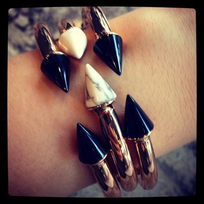 Give your look a bit of edge with these black and gold bracelets from Intermix. For more amazing accessories, visit http://balharbourshops.com/must-haves/womens-accessories
