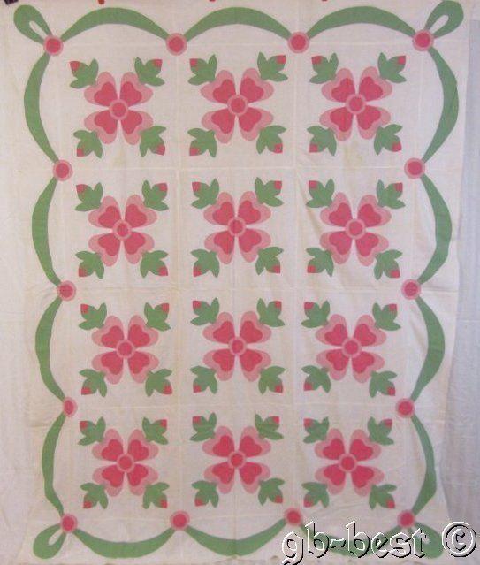 Beautiful c 1930s Pink Rose of Sharon Applique Vintage Quilt TOP ... : rose of sharon quilt - Adamdwight.com
