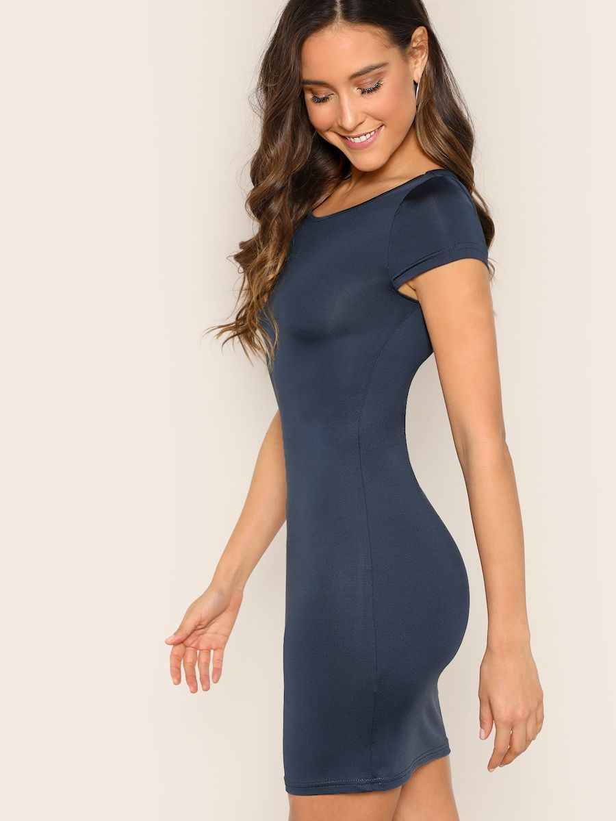 Cap Sleeve Form Fitted Dress Shein Bodycon Dress With Sleeves Bodycon Dress Fitted Dress [ 1199 x 900 Pixel ]