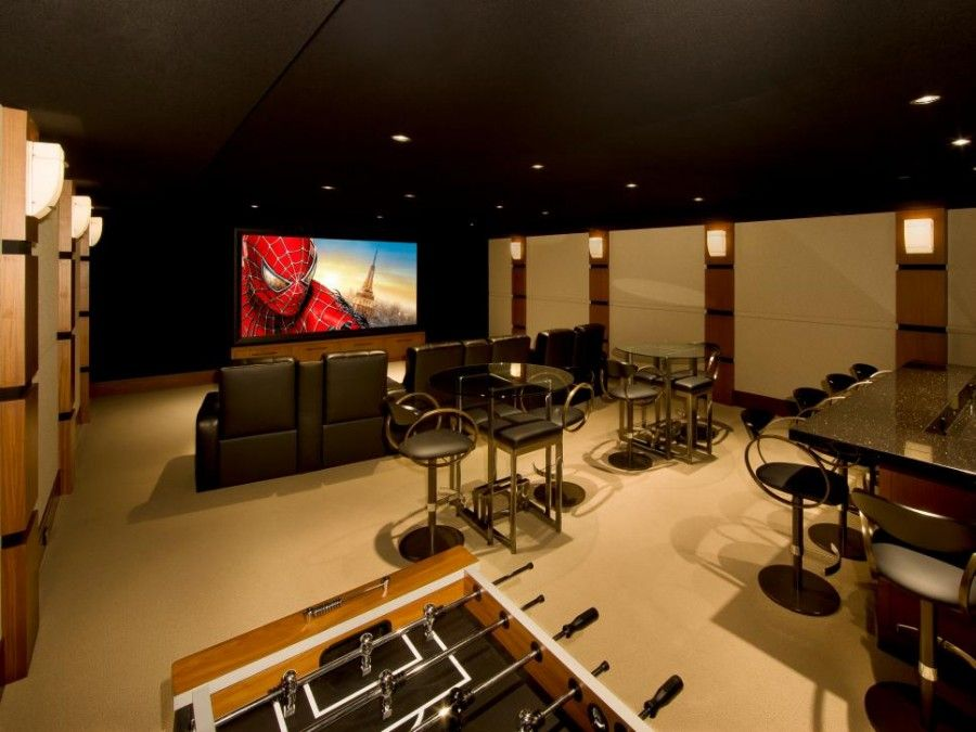 The Red And Beige Cinema Room At Home Media Room Ideas With Decorative Wall And Plush Seating Media Roo Media Room Design Home Theater Rooms Home Cinema Room