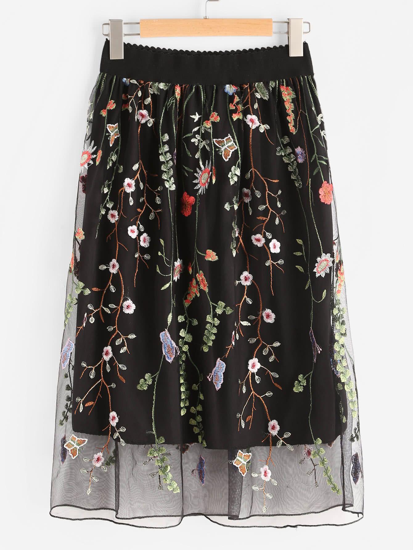 df055fe17 Shop All Over Flower Embroidered Mesh Overlay Skirt online. SheIn ...