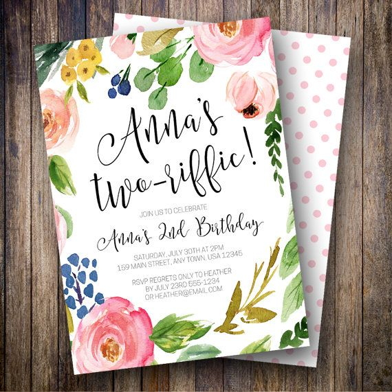 Second birthday party invitation two riffic birthday party girl second birthday party invitation two riffic birthday party girl birthday invite boho floral birthday invite pink blue green filmwisefo
