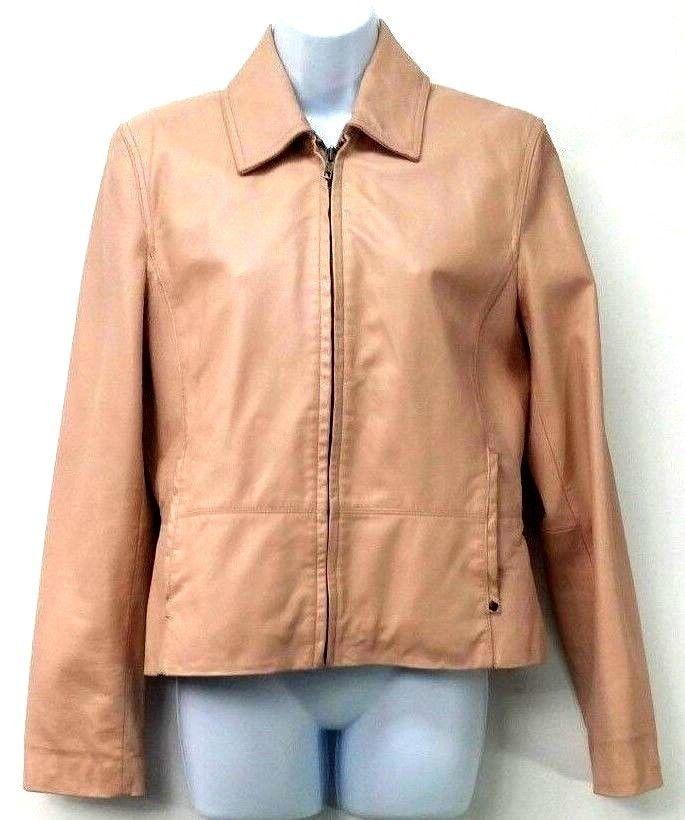 Black Rivet Leather Jacket Light Pink Womens Size Medium Full Front