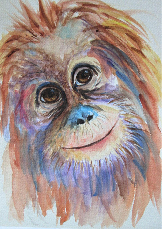 Orangutan Monkey Painting Original Watercolour by Marjan39s