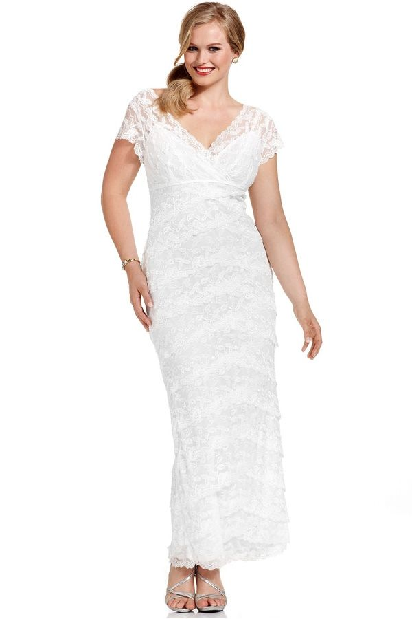 Elegant Tiered White Sheath/Column V-neck Short Sleeves Full-length ...