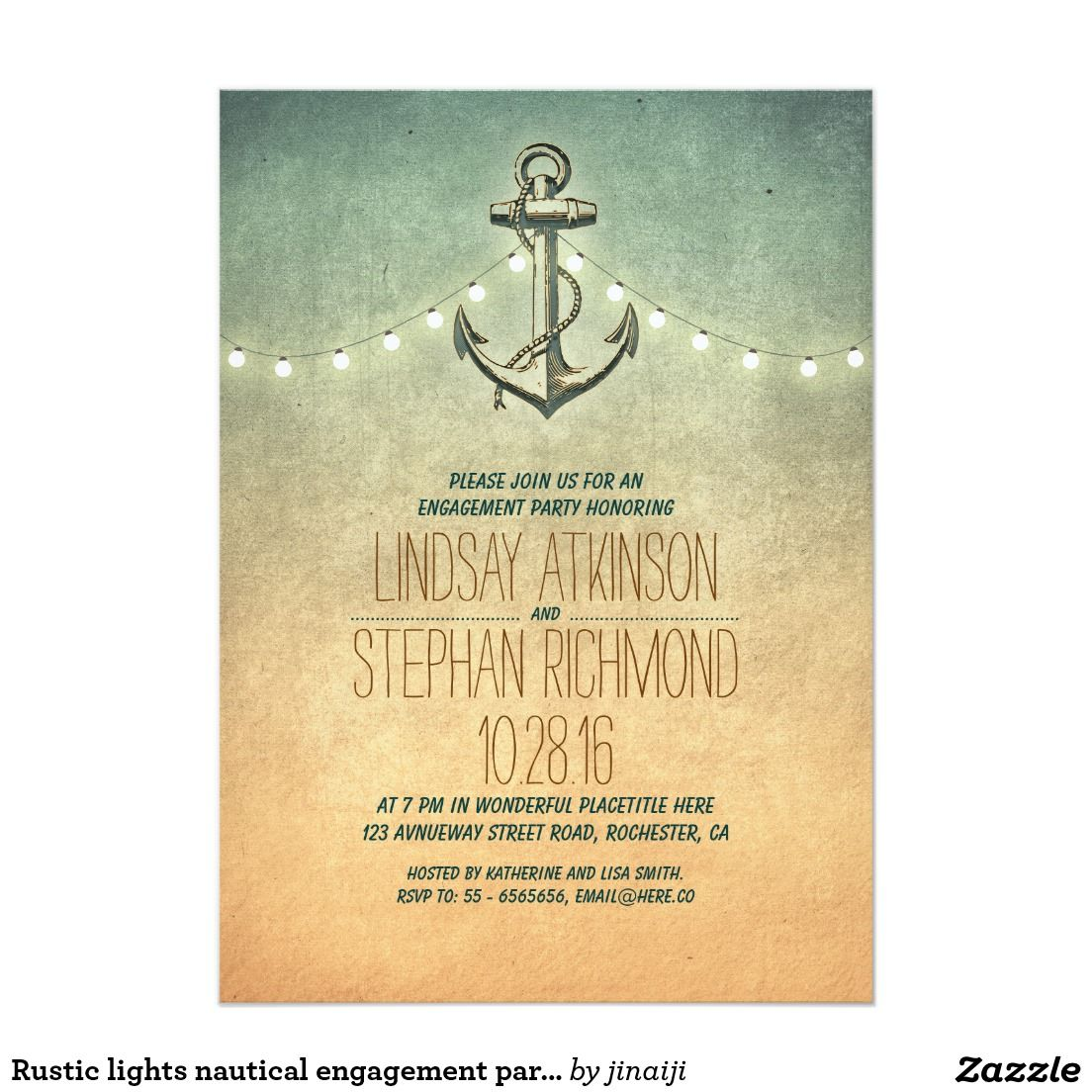 rustic lights nautical engagement party invitation anchor wedding