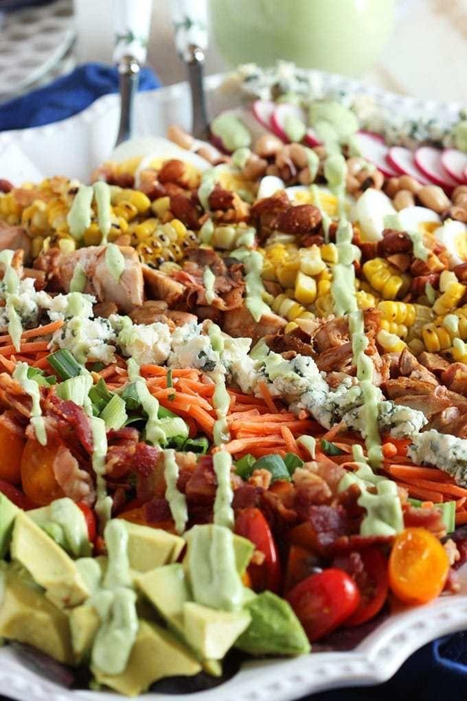 Barbecue Chicken Cobb Salad with Avocado Ranch Dressing #avocadoranch Barbecue Chicken Cobb Salad with Avocado Ranch Dressing | TheSuburbanSoapbox.com #avocadoranch