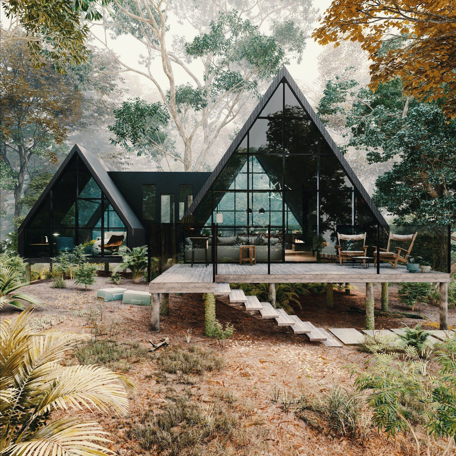 Une Immense Cabane Vitree A L Interieur Contemporain Planete Deco A Homes World In 2021 A Frame House Plans House Exterior Cabin Design