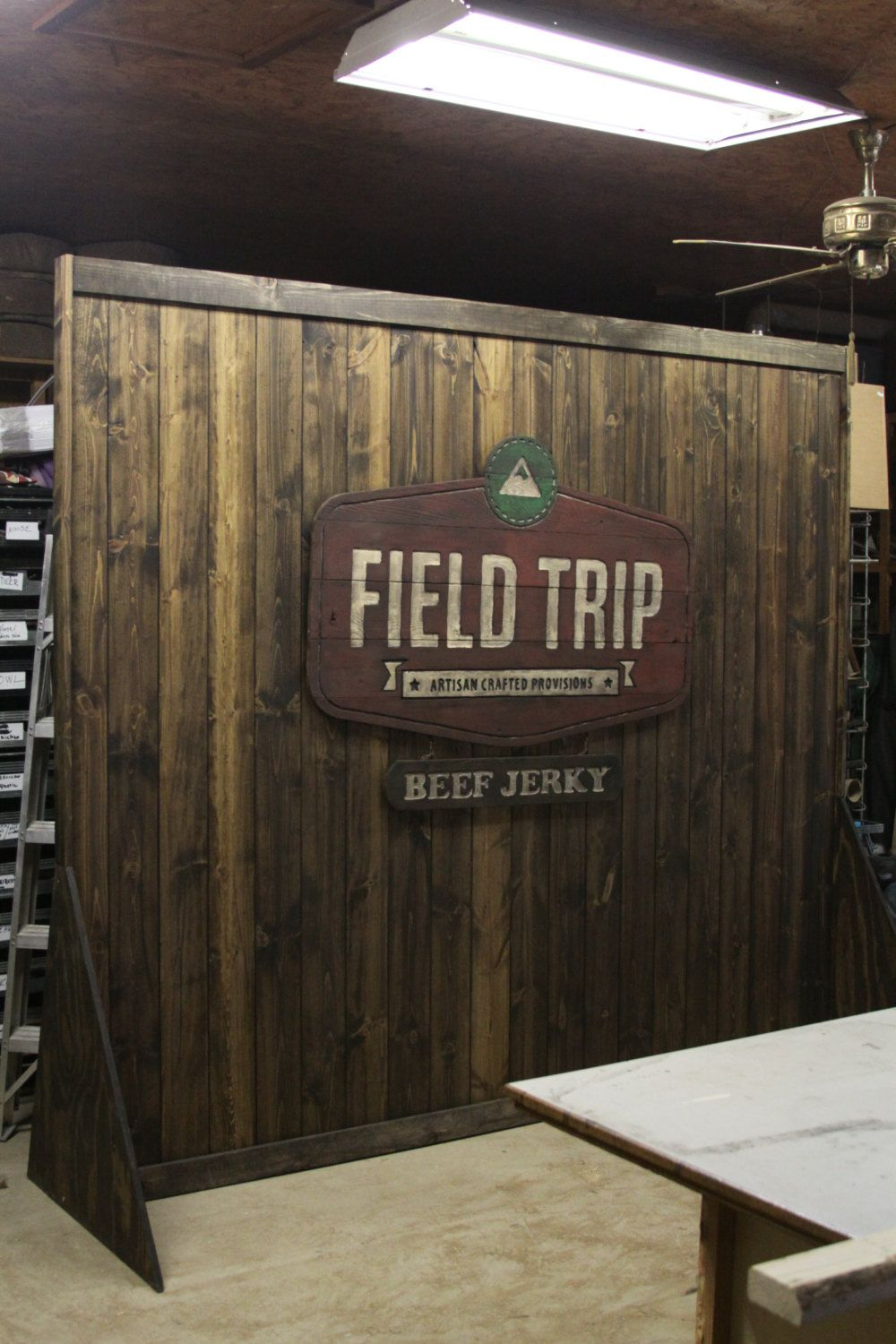 Trade Show Booth Walls : Rustic custom portable wall display for shop or booth