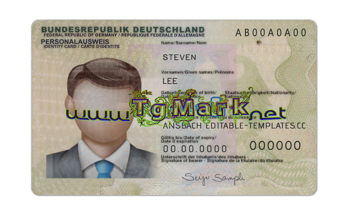 Germany Idcard Template Photoshop Psd Adobe Photoshop Full Version Mac Win No Date And No Number Limit In Downl Id Card Template Cards Card Template