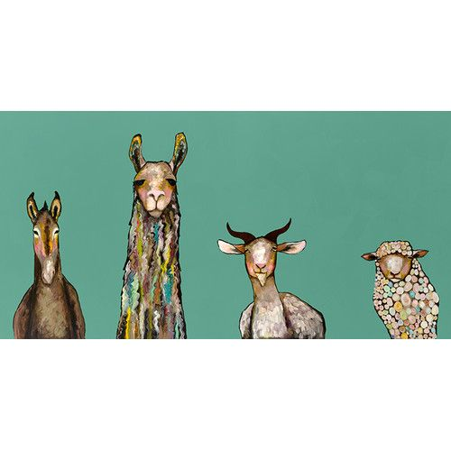 Found it at AllModern - 'Donkey Llama Goat Sheep' by Eli Halpin Painting Print on Wrapped Canvas