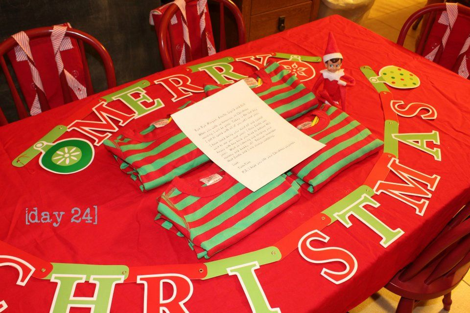 Last Day on Duty - Elf on the Shelf leaves Christmas Eve pajamas and a note saying Goodbye and Merry Christmas