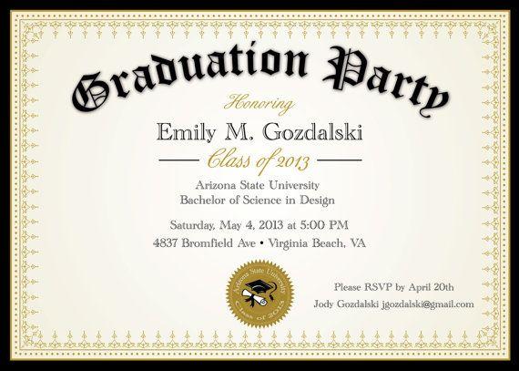 Diploma Graduation Invitation Printable