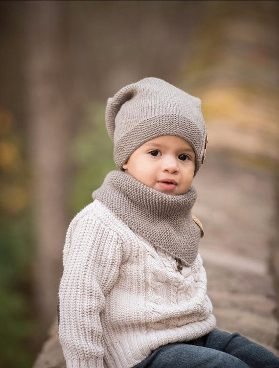 b9ba070340fe00 Kids brown slouchy beanie is hand knitted of 100% merino wool with two  decorative wooden buttons - very soft, luxuriously gentle next to the skin,  ...
