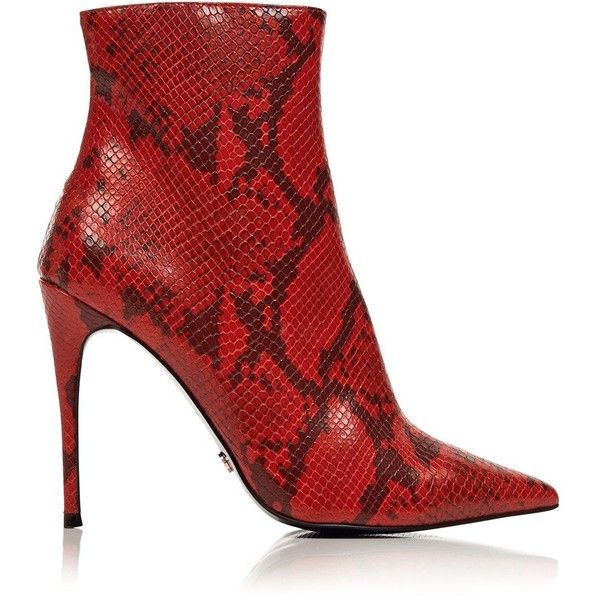Kurt Geiger London Ride Snake Print Ankle Boots- Red ( 255) ❤ liked on  Polyvore featuring shoes 05f5b9c1361d