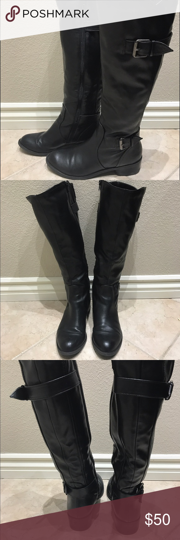 Leather Riding Boots 9 Excellent condition only worn once look brand new faux Leather Macy's Shoes Combat & Moto Boots