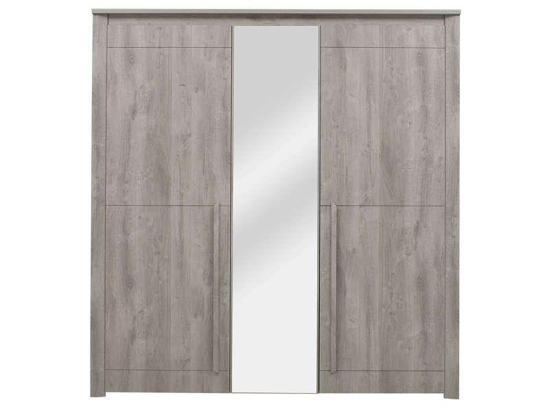 Armoire 3 portes battantes EDEN pas cher coloris chêne gris ...