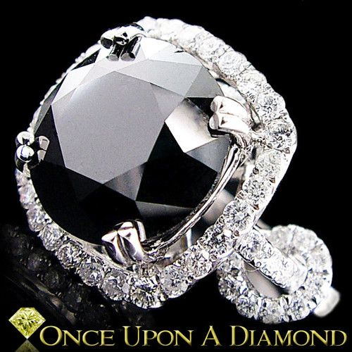 Huge Black Diamond Ladies Ring in White Gold 7 12ctw Halo Style