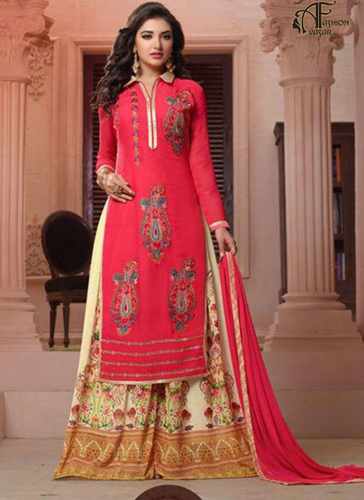 5b2693c964 indian bollywood ethnic designer pink top gergette bottamgeorgette with  sntoon. Georgette Sharara Straight Cut Pink Salwar Suit