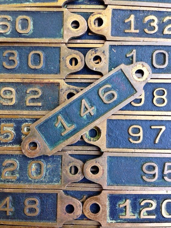 Antique numbered Brass Locker number plate or locker tag - safe deposit box number - Ste&unk & Antique numbered Brass Locker number plate or locker tag - safe ...
