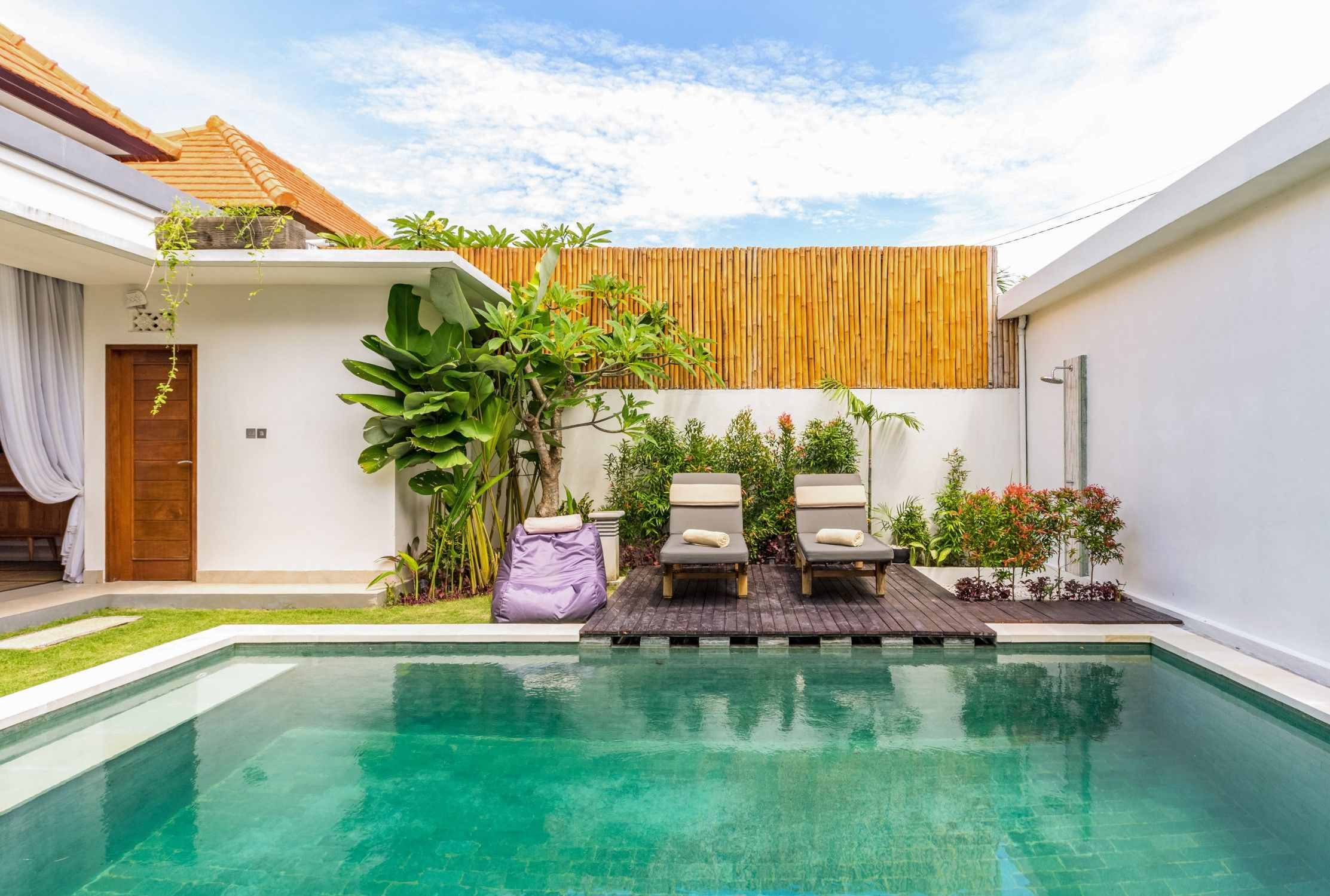 Entire Home Apt In Kuta Indonesia Soak Up The Tropical Rays Or Unwind In The Pool At A Private Modern Villa On A Q Villa Outdoor Living Room Outdoor Living