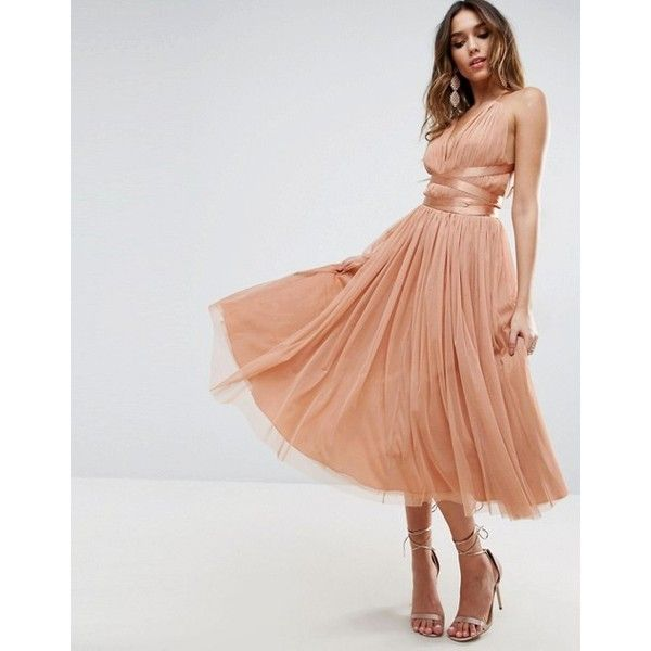 ASOS PREMIUM Tulle Midi Prom Dress With Ribbon Ties (€78) ❤ liked on Polyvore featuring dresses, prom dresses, v neck dress, tulle prom dresses, strap prom dresses and asos dresses