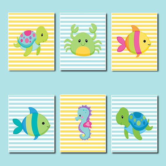 Boy Girl Nursery Sea Animals Bathroom Decor Stripes Yellow Aqua Artwork Fish  Turtle Seahorse Crab Set Of 6 Prints Wall Art Decor Picture