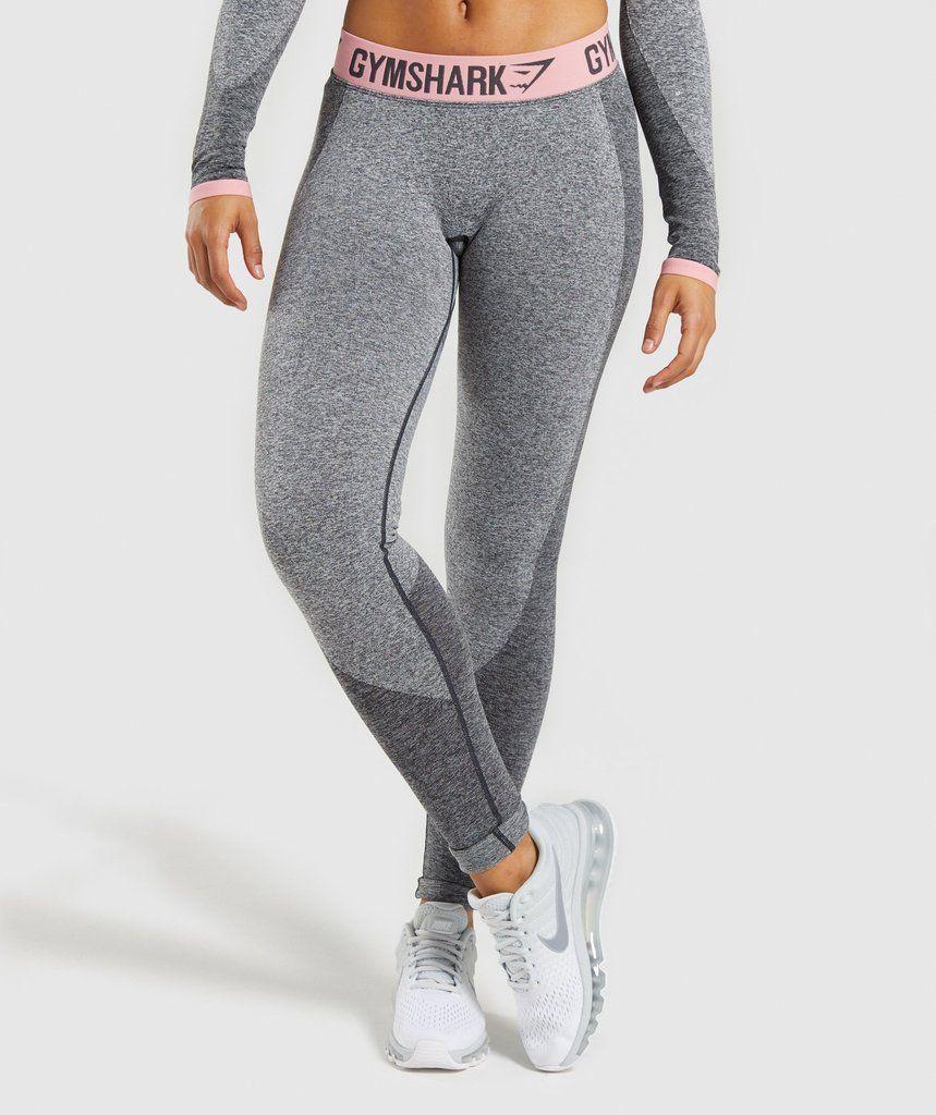 c015da7095e602 Gymshark Flex Leggings - Charcoal Marl/Peach Pink | Active chic ...