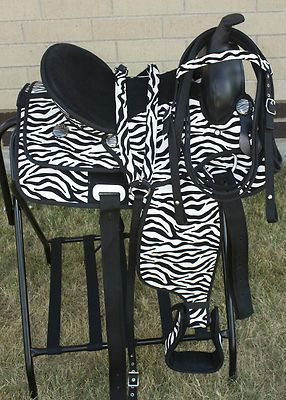 horse saddle office chair magellan fishing aleko alcm815bl black ergonomic high back mesh 14 youth zebra print western synthetic show trail tack w hay bag
