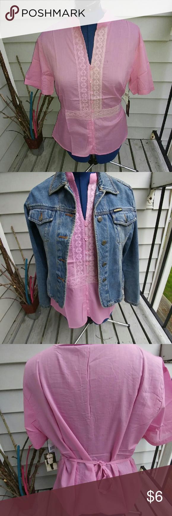 Pink Tunic Tie Top Pink Linen likeTunic 1x 14 2x 16 3x 18  100% cotton Michelle Martin Tops Tunics