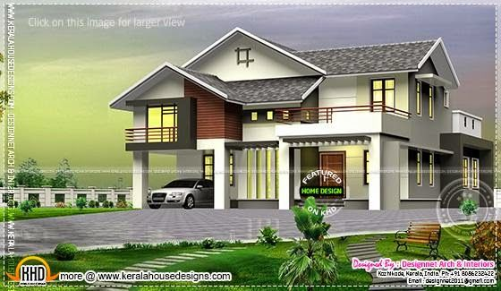 House With Mezzanine Floor And Outside Glass Roof Courtyard Kerala House Design House Design House Designs Exterior