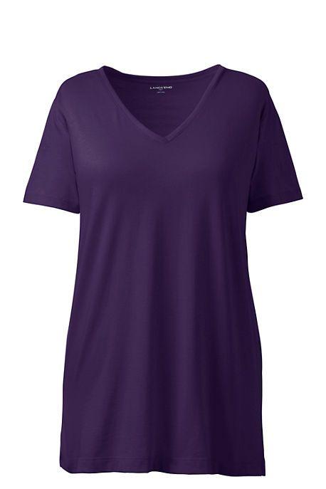 20b42d77e46 Women's Plus Size Supima Cotton Short Sleeve V-neck Tunic Top (Milage 4)