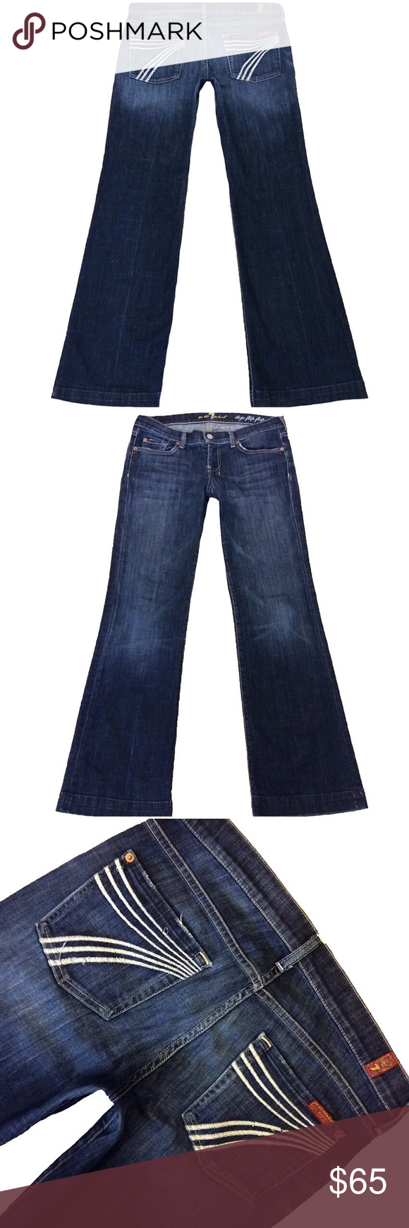 """7 For All Mankind """"Dojo Flip Flop"""" SZ 30 Inseam 31 (#1) A Super Cute Pair Of 7 For All Mankind """"Dojo Flip Flop"""" Women's SZ 30 Flare/Wide Leg Dark Blue Wash With White Stitched 7 Mid-Rise Stretch Jeans. Has a small patch by crotch area that has been repaired. See pic Style# U115FF380S-380S Cut# 720439 Measurements: Waist: 32"""" Hips: 39"""" Front rise: 8.25"""" Back rise: 13"""" Inseam: 31"""" 7 For All Mankind Jeans Flare & Wide Leg"""