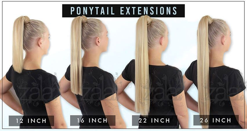 Ponytail Hair Extensions Length Guide Front In 2020 Clip In Ponytail