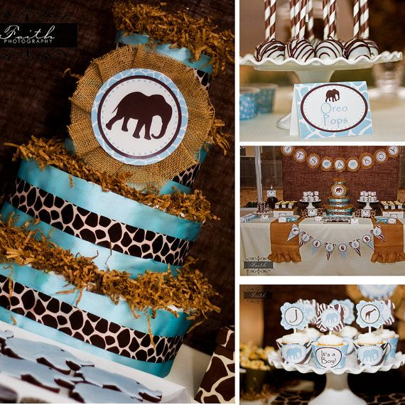 Safari Baby Shower Boy Baby Shower Elephant Blue And Brown