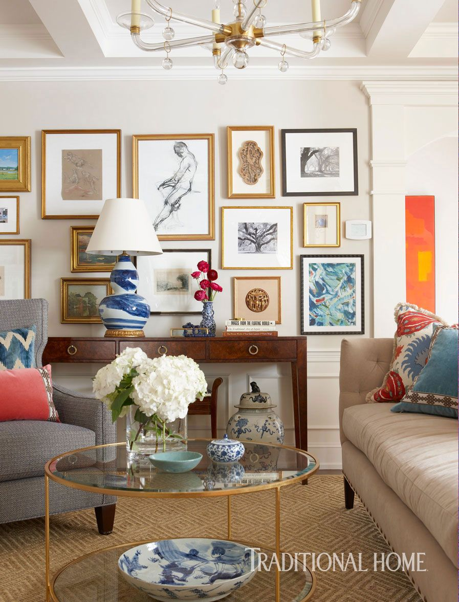Bold color in a new england home traditional home living room