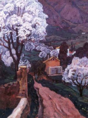 Les amandiers en fleurs à Miliana (1940, huile sur bois) Augustin Ferrando
