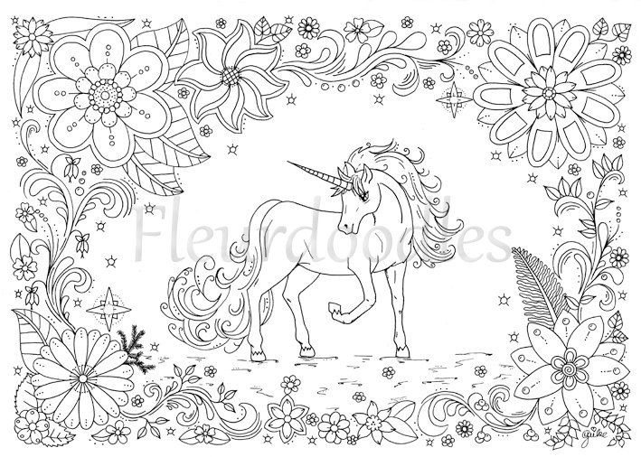 coloring page - Unicorn - horse, instant download, unique hand-drawn ...