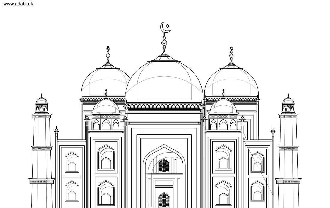 Mosque Free Printable Colouring Page Adabi Books Adabi London