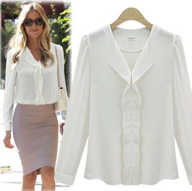 New Fashion Women Celeb White Chiffon Office Wear Blouse Ladies ...