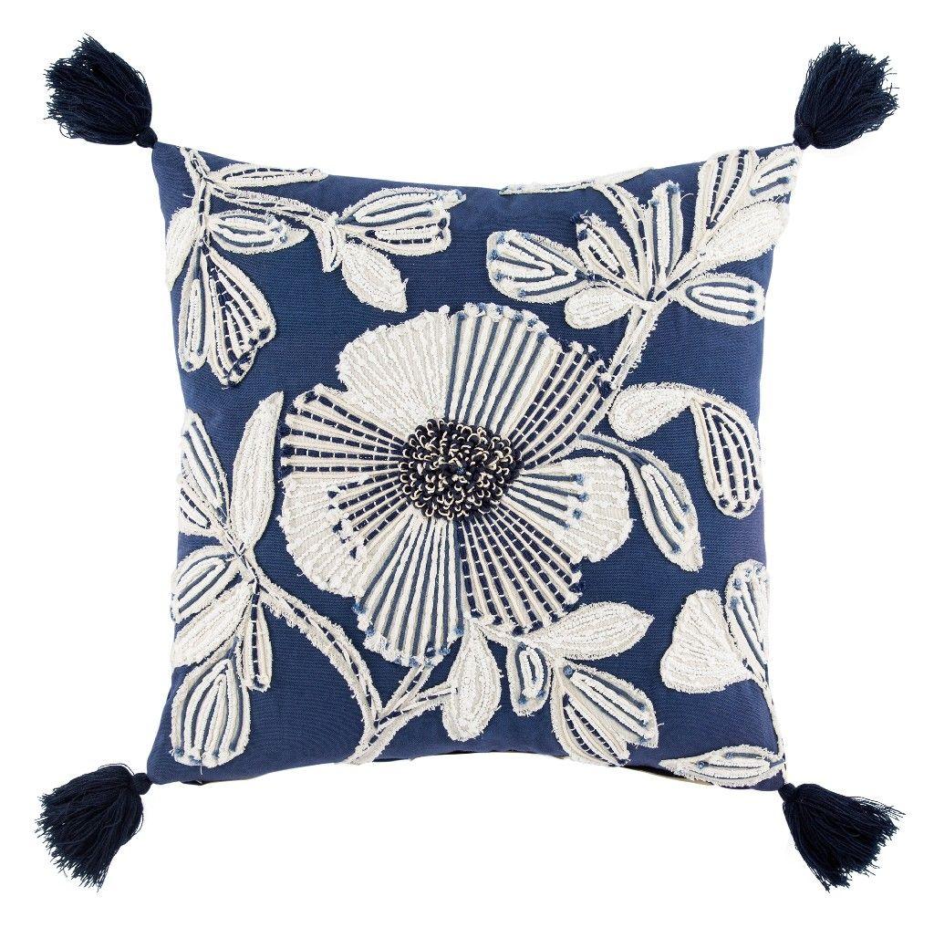 Nikki Chu By Jaipur Living Rosetti Blue White Floral Poly Throw Pillow 20 Inch Plw103334 Floral Throw Pillows Throw Pillows Jaipur Living