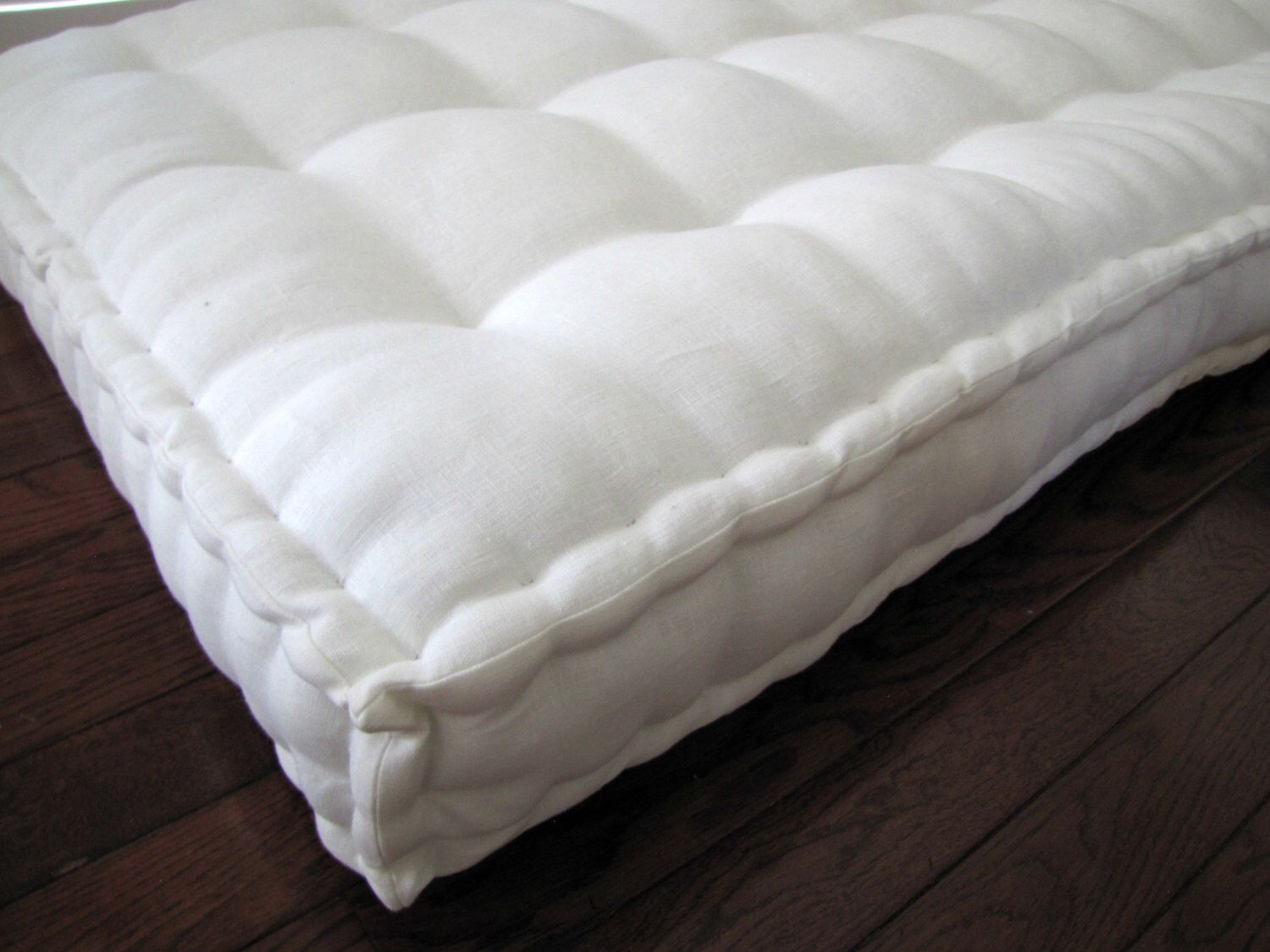 Custom Cushion Ivory Linen Daybed Cushion With French Mattress