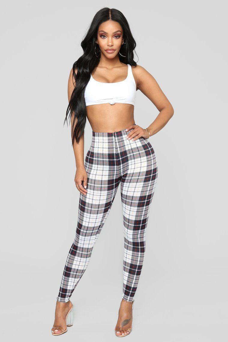 1e18d292b23789 Payton Plaid Leggings - Black/White | Fashion Nova | Black leggings ...