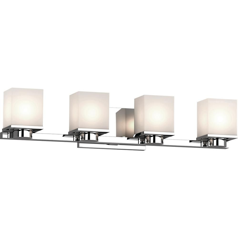 Volume Lighting Sharyn 4 Light 8 In Chrome Indoor Bathroom Vanity Wall Sconce Or Wall Mount With Frosted Glass Square Rectangle Shades 1154 3 Sconces Indoor Wall Sconces Vanity Lighting